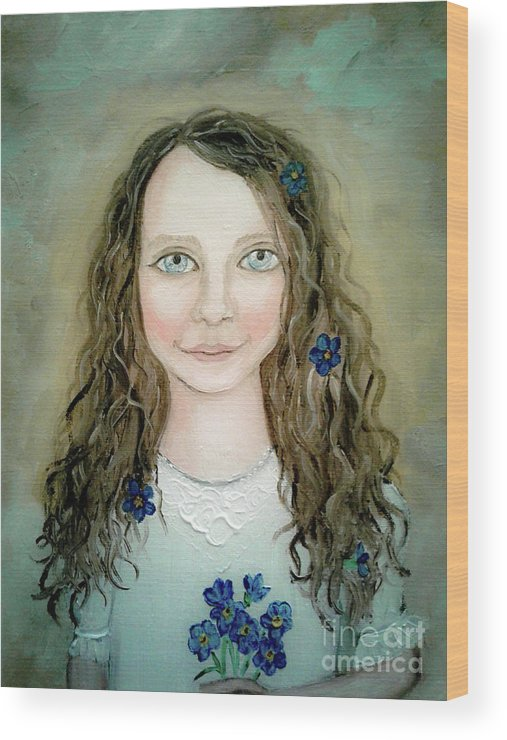 Wendy Wunstell Wood Print featuring the painting Forget Me Not by Wendy Wunstell