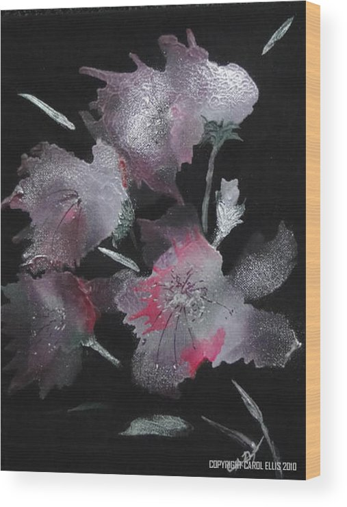 Fantasy Wood Print featuring the painting Frosty Flowers by Carol Ellis