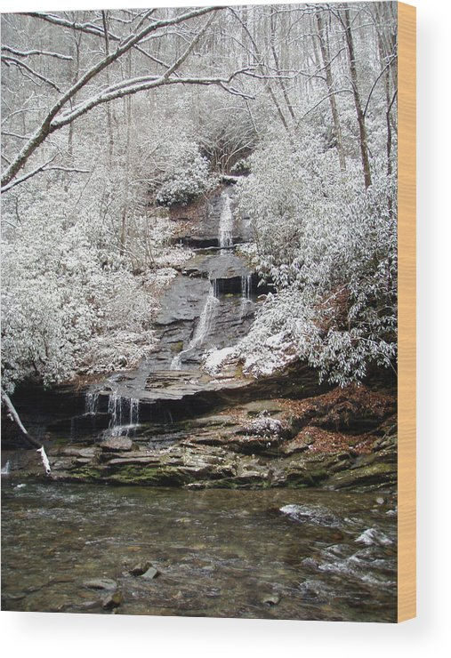 Ice Wood Print featuring the photograph Frozen Falls by Jessica Breen
