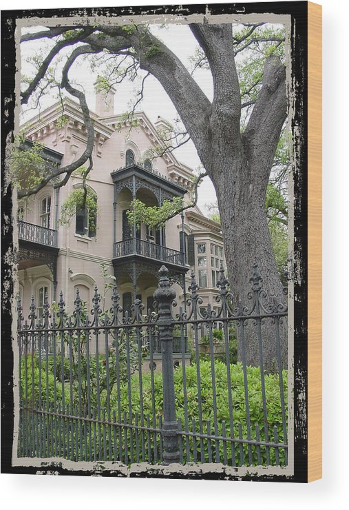 New Orleans Wood Print featuring the photograph Garden District House by Linda Kish