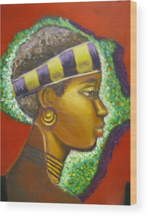 Gem Of Africa Wood Print featuring the painting Gem Of Africa by Jan Gilmore