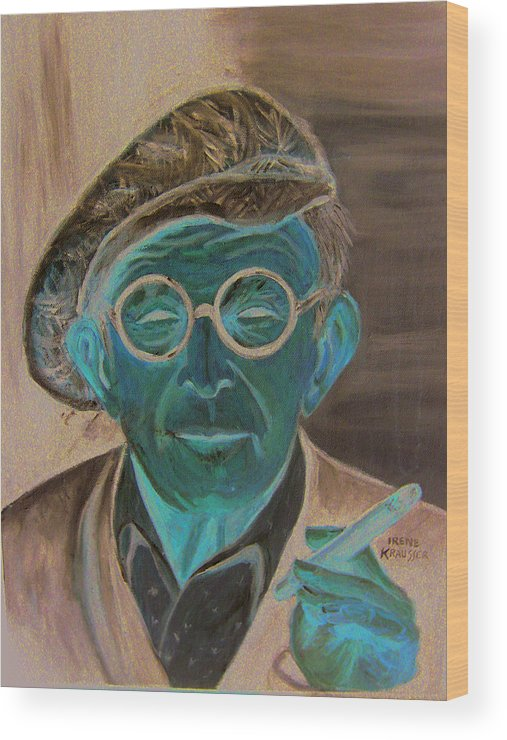 Celebrity Wood Print featuring the painting George Burns by Irene Schilling