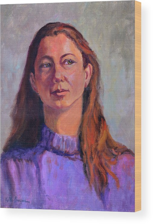 Portrait Wood Print featuring the painting Girl In Purple by Keith Burgess