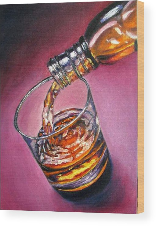Glass Of Wine Wood Print featuring the painting Glass Of Wine Original Oil Painting by Natalja Picugina
