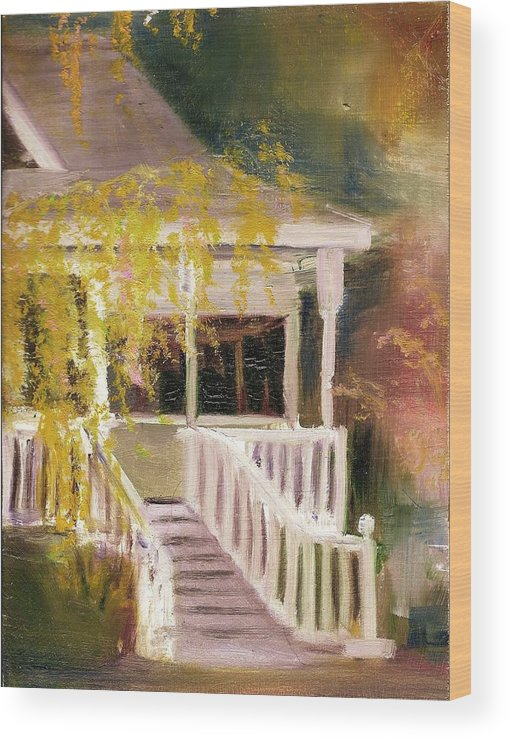 House Wood Print featuring the painting Glenridge Porch by Nancy Atherton Cheadle