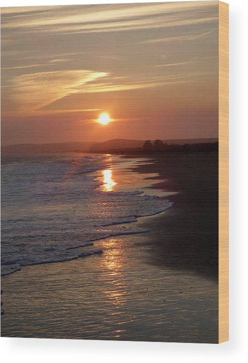Sunset Wood Print featuring the photograph Glistening Ocean Sunset In California by Andrea Freeman