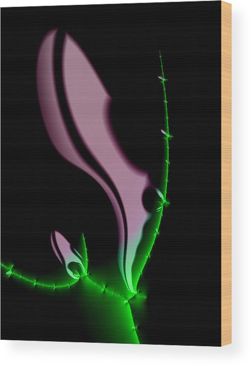 Night Flower Wood Print featuring the digital art Glowing Night Flower Fractal Art by Matthias Hauser