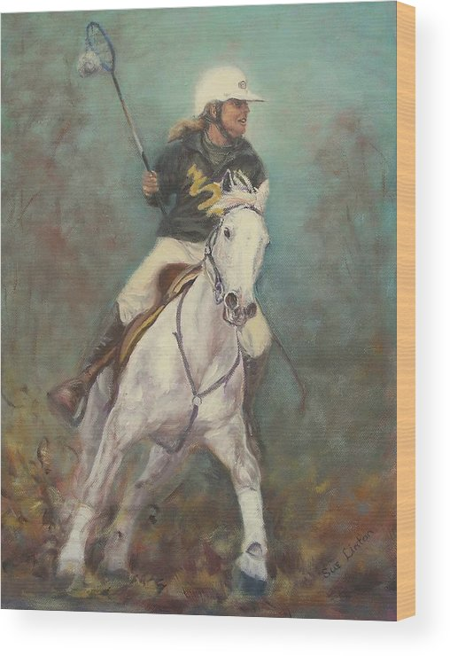 Australian Polocrosse Player On Her Stockhorse Wood Print featuring the painting Going For The Goal by Sue Linton