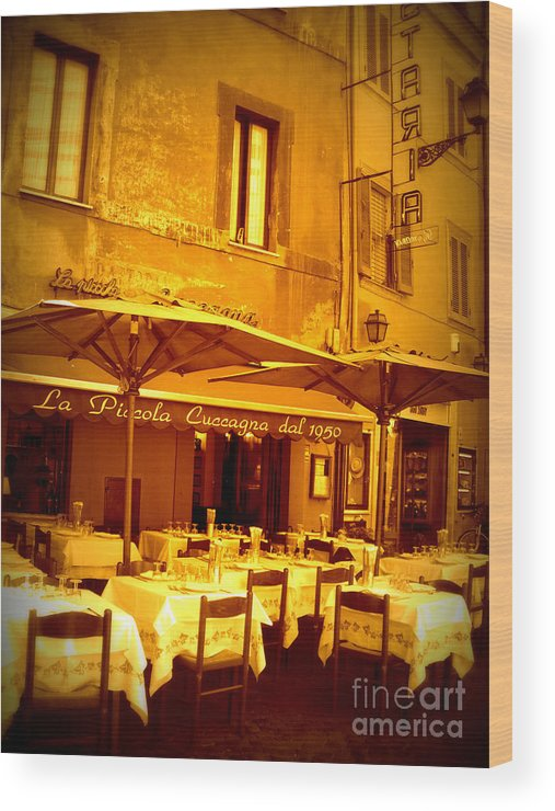 Italy Wood Print featuring the photograph Golden Italian Cafe by Carol Groenen