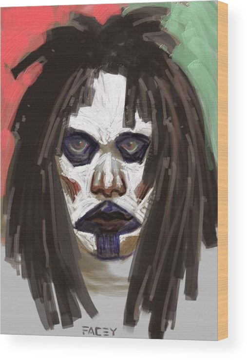 Portrait Wood Print featuring the painting Gothic Dread by Michael Facey