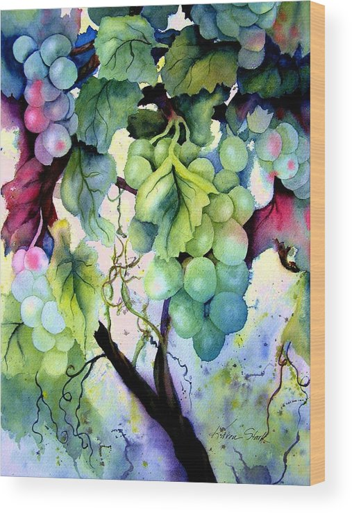 Grapes Wood Print featuring the painting Grapes II by Karen Stark