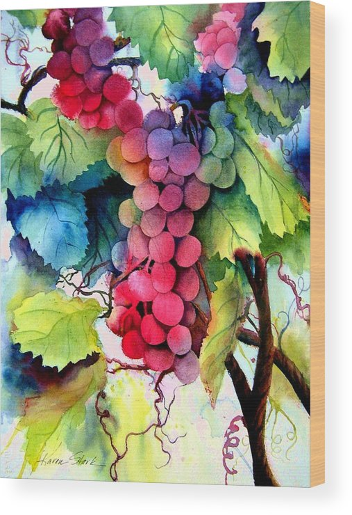 Grapes Wood Print featuring the painting Grapes by Karen Stark