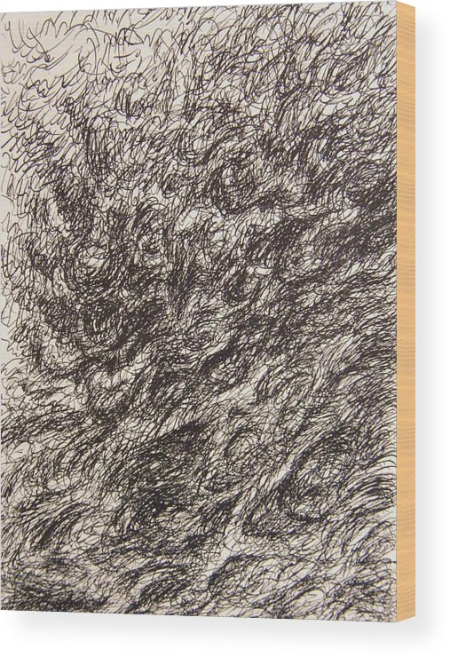 Landscape Wood Print featuring the drawing Gravity by Uwe Schein