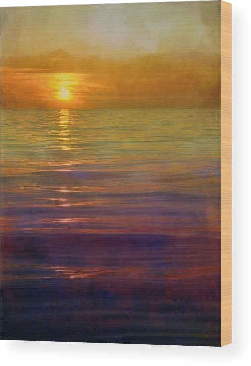 Sunsets Wood Print featuring the digital art Great Lakes Setting Sun by Michelle Calkins