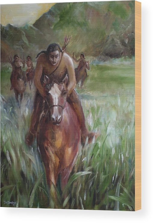 Horse Wood Print featuring the painting Great Valley Run by Jun Jamosmos