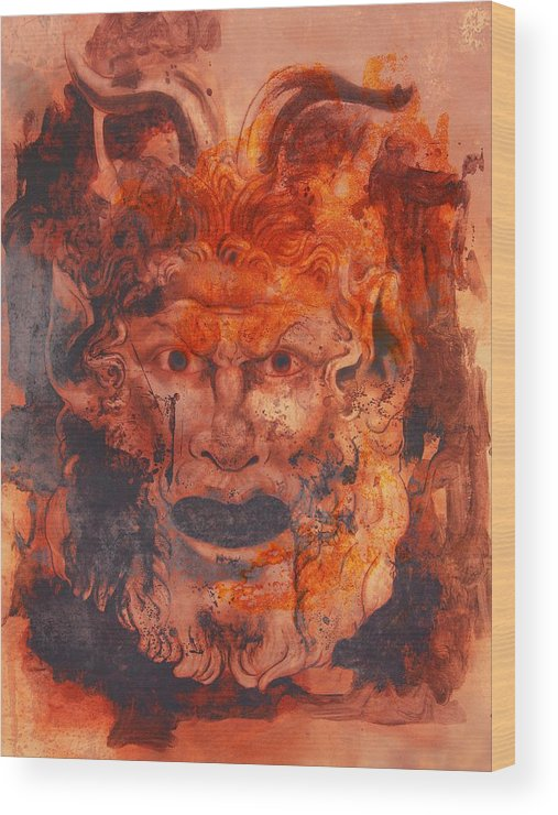 Drawing Wood Print featuring the digital art Greek Mask 8 by Tom Durham