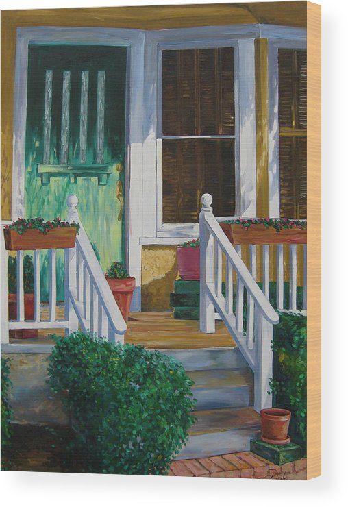 Green Wood Print featuring the painting Green Door by Karen Doyle