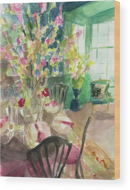 Interior Wood Print featuring the painting Green Interior With Cherry Blossoms by Beverly Brown