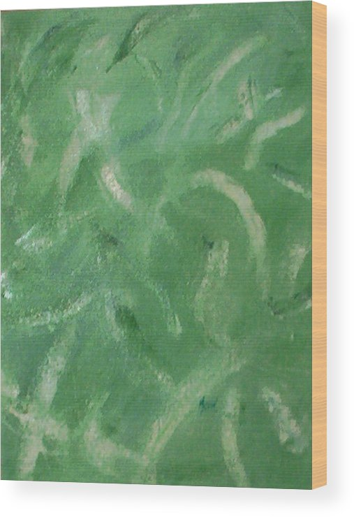Abstract Wood Print featuring the painting Green Movement by Guillermo Mason