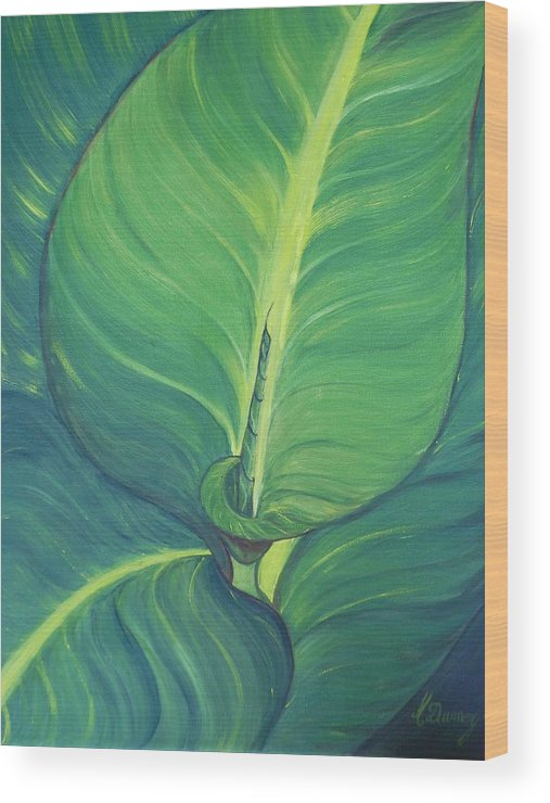 Leaves Wood Print featuring the painting Green by Murielle Hebert