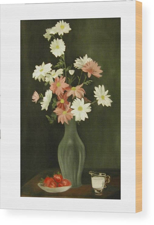 Still Life Wood Print featuring the painting Green Vase With Flowers by Angelo Thomas