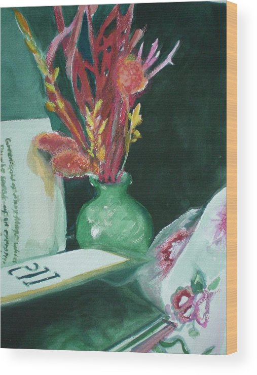 Still Life Wood Print featuring the painting Green Vase With Open Book by Aleksandra Buha