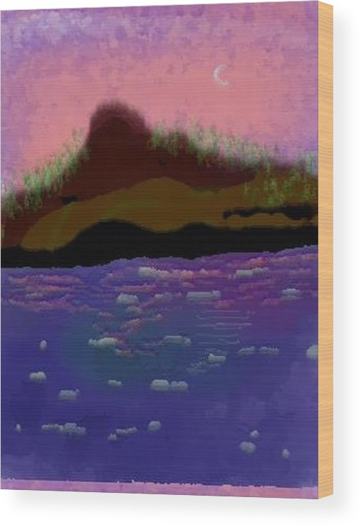 Sky.moon. Rose Sun Reflection.mount.forest. Island.sea.little Icebergs.deep Water Wood Print featuring the digital art Greenland.summer by Dr Loifer Vladimir