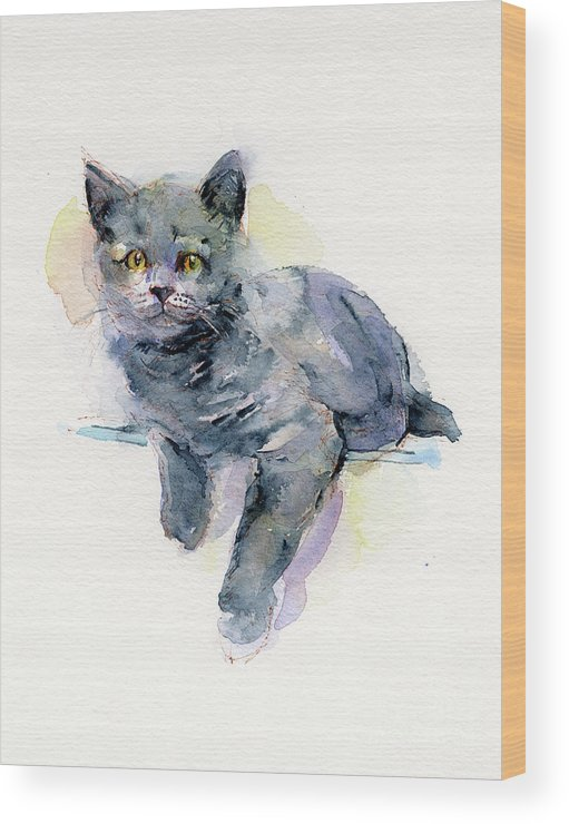 Gray Wood Print featuring the painting Grey Kitten by John Keeling
