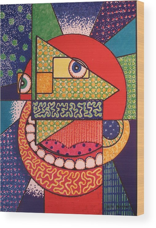 Cubism Wood Print featuring the painting Grinning Redneck by Bill Meeker