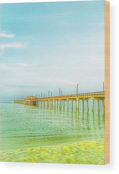 Beach Wood Print featuring the photograph Gulf Shores Pier by Christine DuMouchel