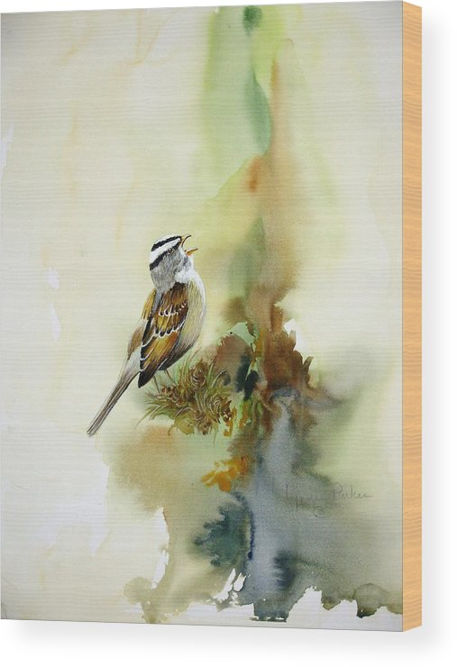 White-crowned Sparrow Wood Print featuring the painting Happy Sparrow by Lynne Parker