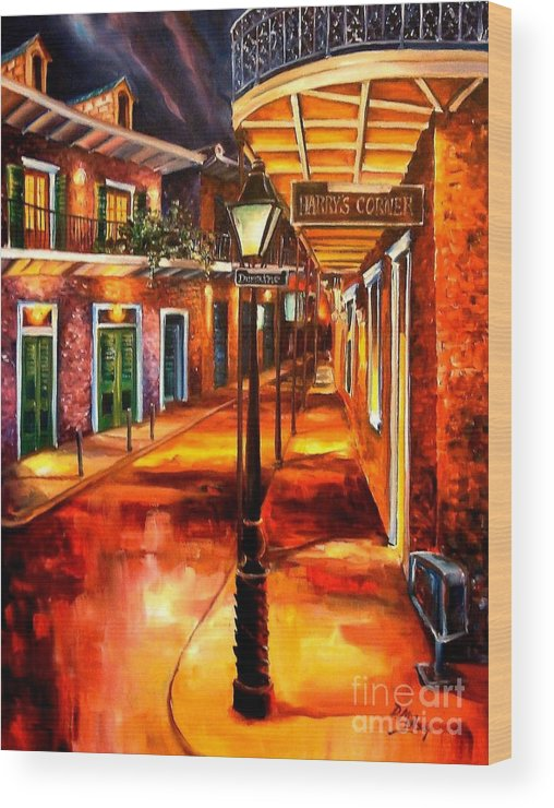 New Orleans Wood Print featuring the painting Harrys Corner New Orleans by Diane Millsap
