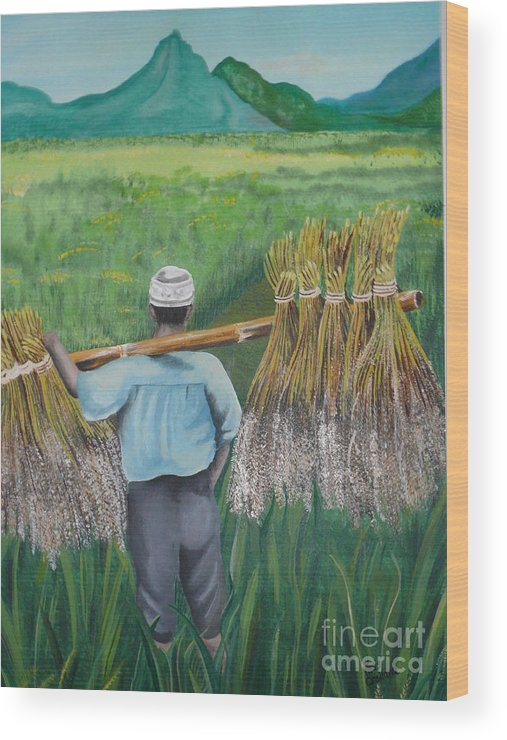 Landscape Wood Print featuring the painting Harvest by Kris Crollard