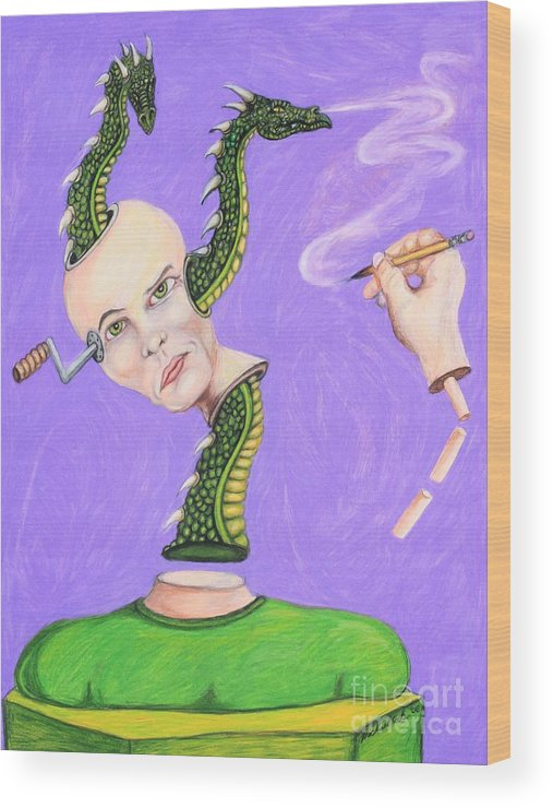 Dragons Surreal Fantasy Wood Print featuring the drawing Head Crank by Michael Cook