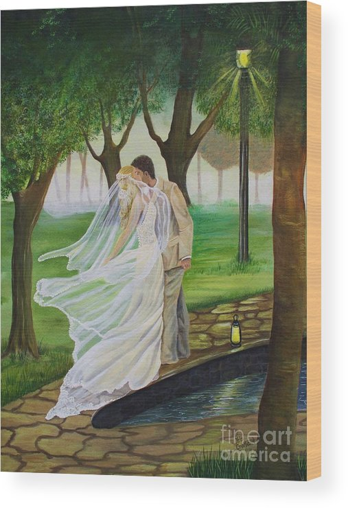 Bride And Groom Wood Print featuring the painting Heart To Heart by Kris Crollard