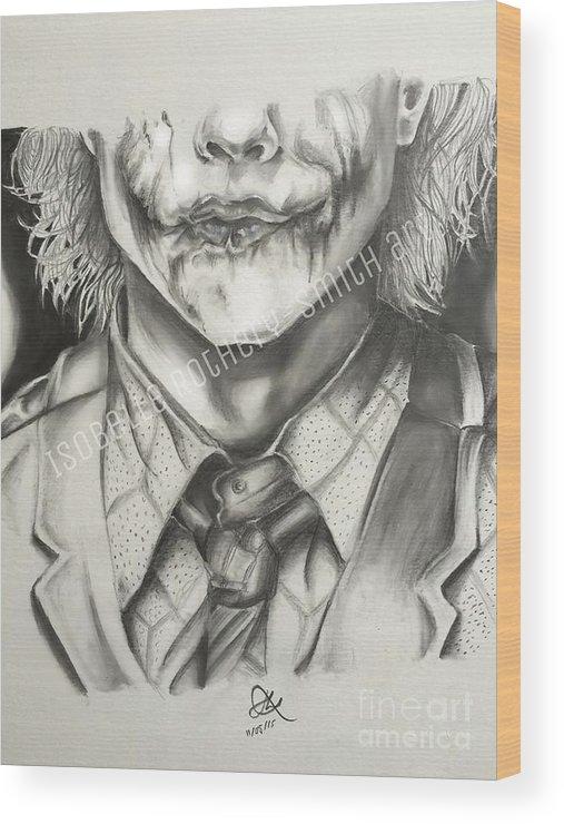 Heath Ledger Joker Pencil Sketch Wood Print