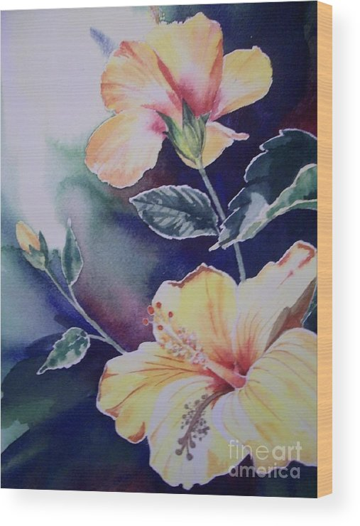 Hibiscus Wood Print featuring the painting Hibiscus by Kathleen Staab