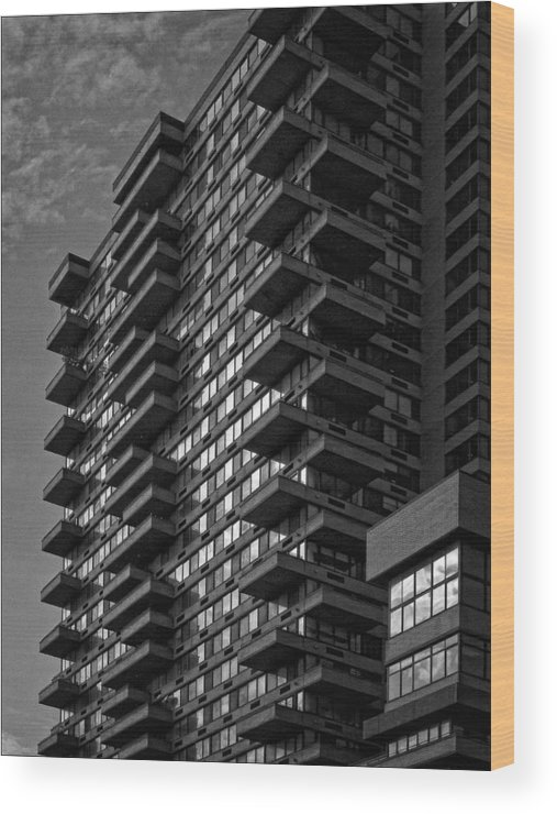 Black And White Wood Print featuring the photograph High Rise Manhattan by Robert Ullmann