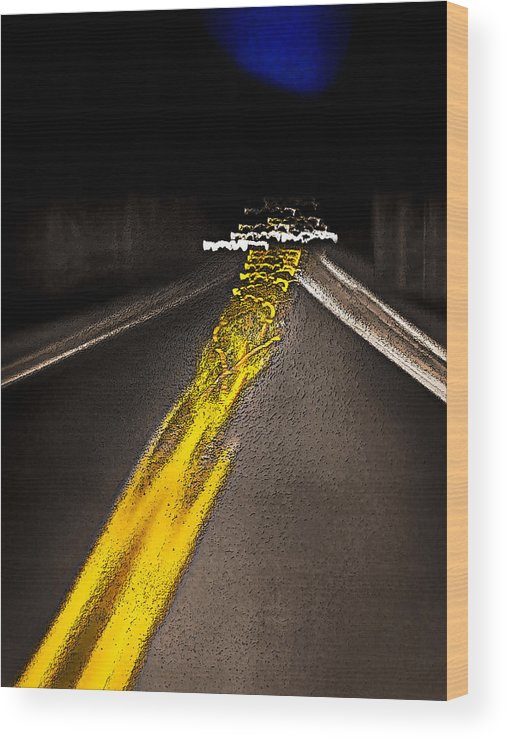 Pacific Northwest Wood Print featuring the photograph Highway Lines Dance At Night by Ed Book