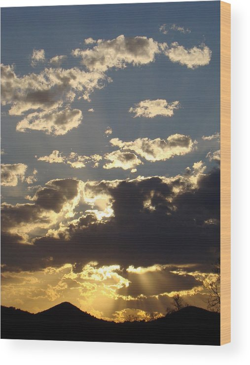 Sunset Wood Print featuring the photograph Hillcountry Sunset One by Ana Villaronga