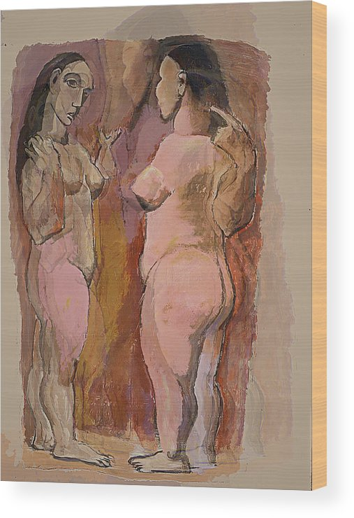 Nudes Wood Print featuring the mixed media Homage To Pablo by Noredin Morgan