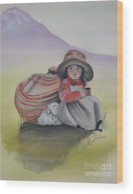 Children Wood Print featuring the painting Hope by Kris Crollard