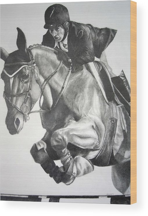 Horse Wood Print featuring the drawing Horse And Jockey by Darcie Duranceau