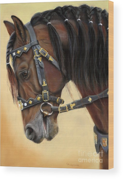 Horse Wood Print featuring the painting Horse Portrait by Svetlana Ledneva-Schukina