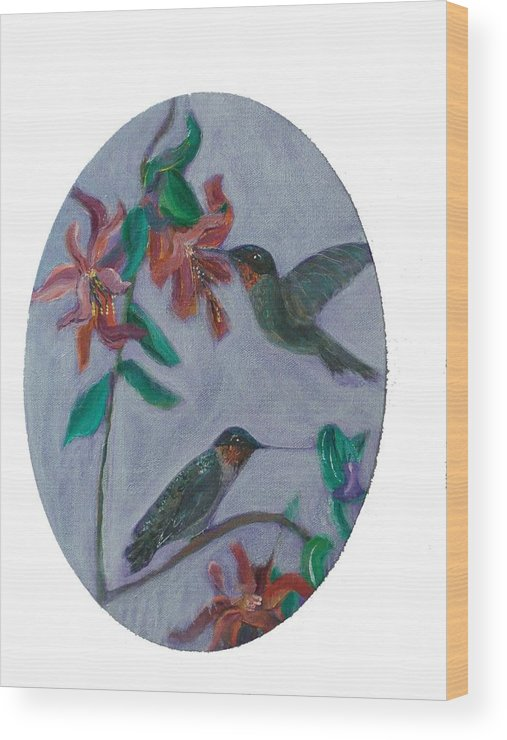 Humming Birds Wood Print featuring the painting Humming Birds by Mikki Alhart