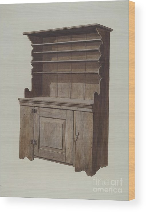 Wood Print featuring the drawing Hutch Dresser by Leslie Macklem