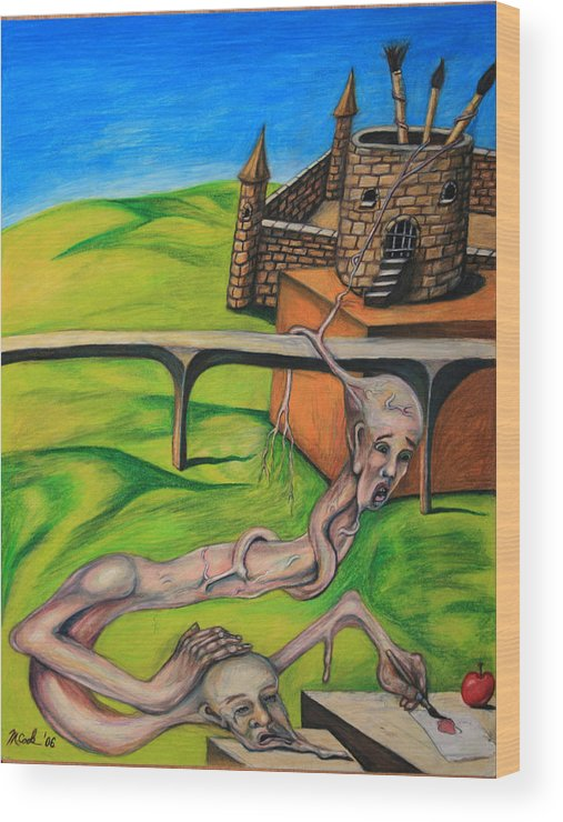 Surreal Conjoined Twins Landscape Wood Print featuring the drawing If I Can See It I Can Draw It by Michael Cook