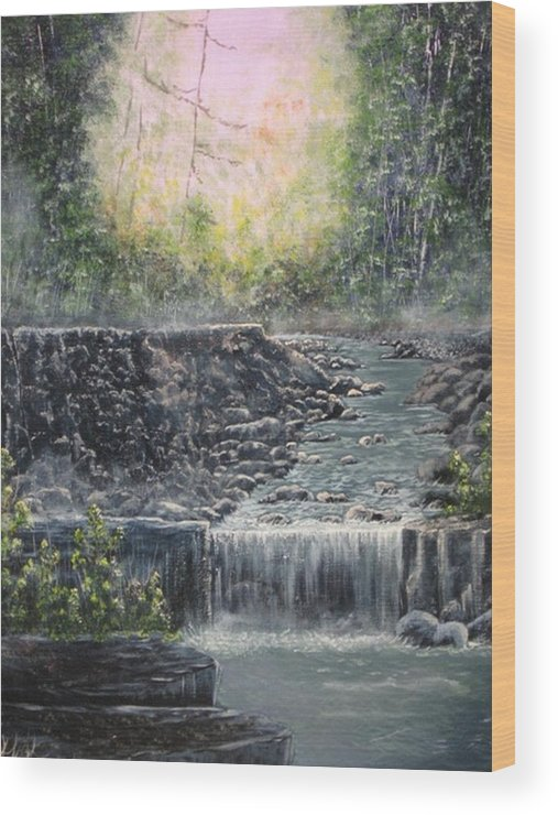 Landscape Wood Print featuring the painting In The Beginning by Sheila Banga