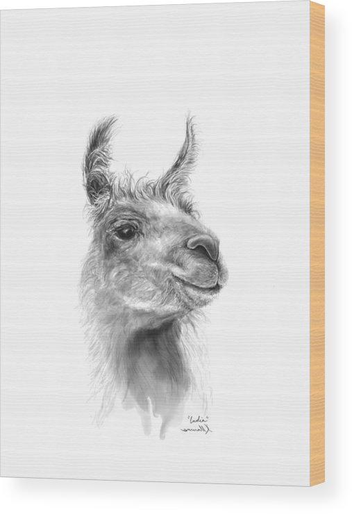 #artshow #artist #blackandwhite #modernart #contemporary #linkinbio #animal #farm #artexhibit #design #interiordesign #printsavailable #gift #llamas #llamasofinstagram #fineart #drawing #artprints #nashvilleartist #home #shop #decor #llamalove #llamalife #llamaart Wood Print featuring the drawing India by K Llamas