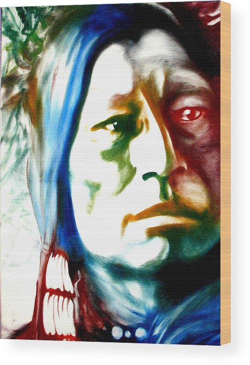 Portrait Wood Print featuring the painting Indian 1 by Scott Robinson